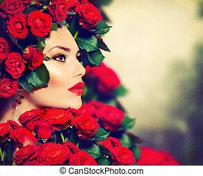 ヘアスタイル, 女の子, ファッション, 美しさ, モデル, ばら, 肖像画, 赤