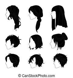 ヘアスタイル, 女, コレクション, 側, 毛 セット, 人, 図画, 光景