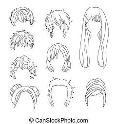 ヘアスタイル, 女, コレクション, 毛 セット, 図画, 人