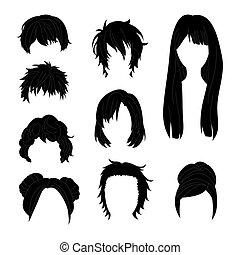 ヘアスタイル, 女, コレクション, 毛 セット, 黒, 2., 図画, 人