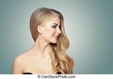 ヘアスタイル, 女, 巻き毛, 健康, 美容術, skin., 長い髪, 待遇, 美顔術, ブロンド, 心配