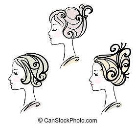 ヘアスタイル, 肖像画, 3, 女性, 定型