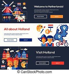 ヘッダー, 旗, netherlands, セット, ウェブサイト, 旅行