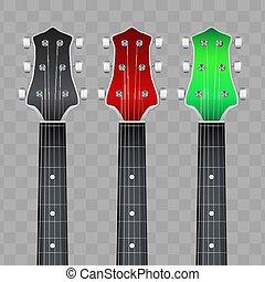 ヘッドストック, 首, セット, fretboard, ギター