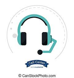ヘッドホン, クライアント, 呼出し 中心, コミュニケーション