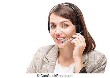 ヘッドホン, コンサルタント, 答えている質問, 若い, クライアント, hotline, 微笑