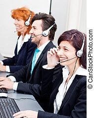 ヘッドホン, サポート, 微笑, エージェント, callcenter