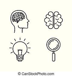 ヘッドホン, シルエット, 考え, 脳, 電球, 人