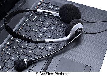 ヘッドホン, ラップトップ・コンピュータ, あること, キーボード