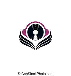 ヘッドホン, レコード, 翼, アイコン
