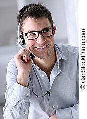 ヘッドホン, 中心, オフィス, 呼出し, 微笑の人