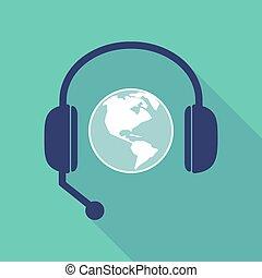 ヘッドホン, 地球, 地域, アメリカ, 影, 世界, 長い間