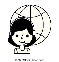 ヘッドホン, 女の子, 呼出し 中心, 世界
