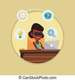 ヘッドホン, 女性ビジネス, 仕事, vr, computer.