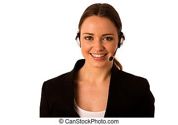 ヘッドホン, 女性ビジネス, preety, アジア人, コーカサス人, 幸せ