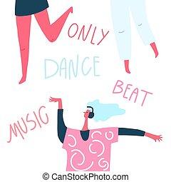 ヘッドホン, 手, ダンス, テキスト, :, 引かれる, 打つこと, 音楽, ダンス, 女の子
