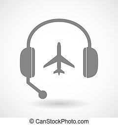 ヘッドホン, 援助, 飛行機, リモート, アイコン