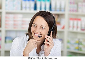 ヘッドホン, 薬局, 話すこと, 女性実業家