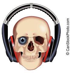 ヘッドホン, 頭骨