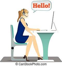 ヘッドホン, 頭, 女, 仕事, 彼女, モデル, pc, テーブル, 椅子