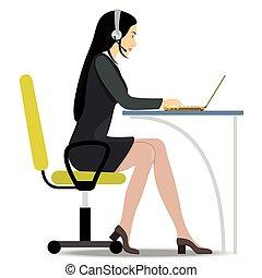 ヘッドホン, 頭, 女, 彼女, 仕事, モデル, notebook., テーブル, 椅子