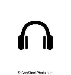 ヘッドホン, dj, 抽象的, ヘッドホン, シンボル。, icon., アイコン