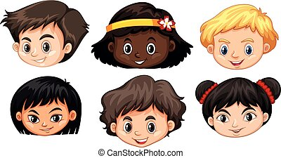 ヘッドホン, multicultural, 子供