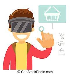 ヘッドホン, shopping., バーチャルリアリティ, オンラインで, 白, 人