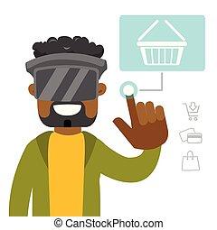 ヘッドホン, shopping., バーチャルリアリティ, 黒, オンラインで, 人