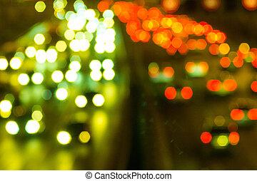 ヘッドライト, の, 自動車, 上に, ∥, ハイウェー, フォーカスから