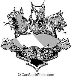 ヘビ, 灰色, cerberus, テンプレート, 白, デザイン