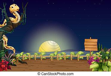 ヘビ, 看板, 木製である, 木