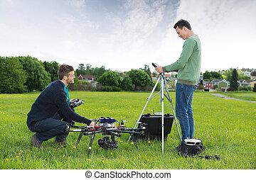 ヘリコプター, エンジニア, 公園, 仕事, uav