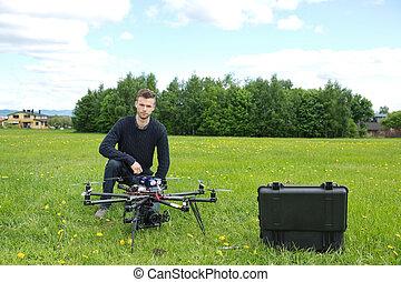 ヘリコプター, エンジニア, 公園, uav