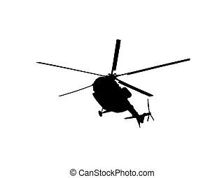 ヘリコプター, シルエット, 上に, a, 白い背景