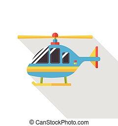 ヘリコプター, 交通機関, 平ら, アイコン