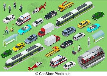 ヘリコプター, 都市, 等大, オフロード, mini., views., vehihle., 飛行機, 貨物, 自転車, 自転車, 都市, 公衆, ワゴン, セダン, 後部, 貨物, 前部, トラック, バン, 輸送
