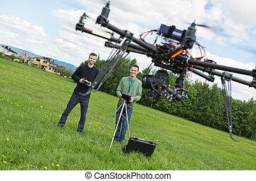 ヘリコプター, 飛行, 公園, エンジニア, uav