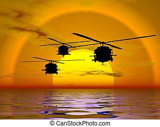ヘリコプター, blackhawk, 軍隊