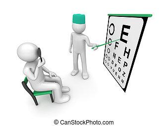 ヘルスケア, -, 患者の, 光景, 検査, コレクション, oculist