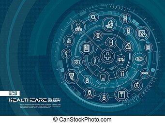 ヘルスケア, 白熱, 連結しなさい, バックグラウンド。, 薬, システム, インテグレイテド, 円, 薄くなりなさい, デジタル, 線, 抽象的, icons.