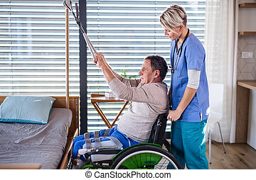 ヘルスケア, 車椅子, 労働者, 患者, physiotherapy., シニア