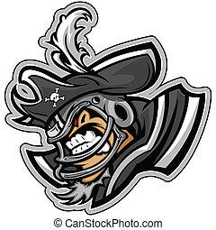 ヘルメット, うなること, グラフィック, フットボール, スポーツ, アメリカ人, ベクトル, raider, 帽子, 海賊, lllustration, マスコット