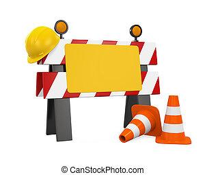 ヘルメット, コーン, 障壁, 建設, 交通, 下に, 安全