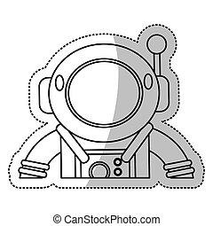 ヘルメット, スーツ, 宇宙飛行士, アウトライン, スペース