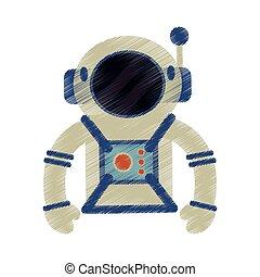 ヘルメット, スーツ, 宇宙飛行士, 図画, スペース