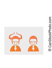 ヘルメット, フットボール, アメリカ人, ビジネスマン, アイコン, 3d