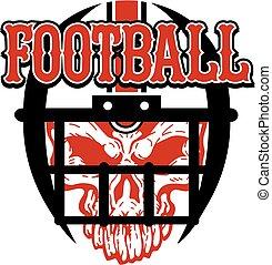 ヘルメット, フットボール, 頭骨