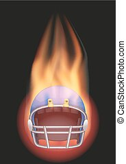 ヘルメット, フットボール, flame.