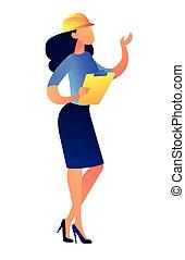 ヘルメット, ベクトル, illustration., 女性実業家, クリップボード, 建設